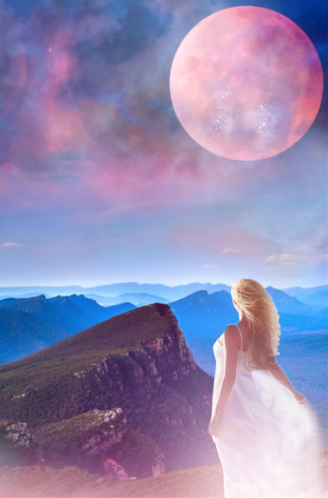 #freetoedit #pinkmoon #moonlight #skylovers #skyporn #woman #dreamy #dreamscape #colorful #pastelcolors #aestheticedit #stickerart #blending #hdr1 #adjusttools #blending #editstepbystep #myedit #madewithpicsart