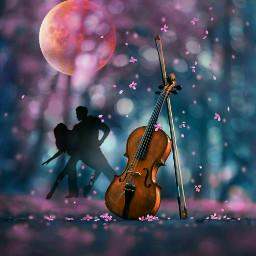freetoedit nightsky moonlight violin blossoms ircfullpinkmoon