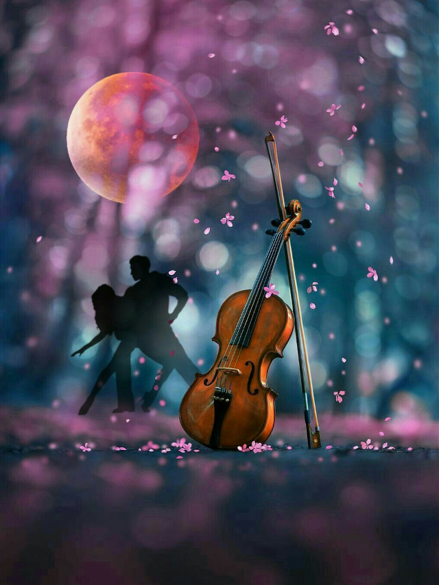 A Spring Romance #freetoedit #nightsky #moonlight #violin #blossoms #dancingcouple