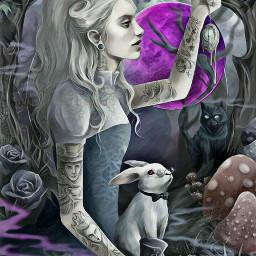 freetoedit moonlight alice mushrooms rabbit ircfullpinkmoon