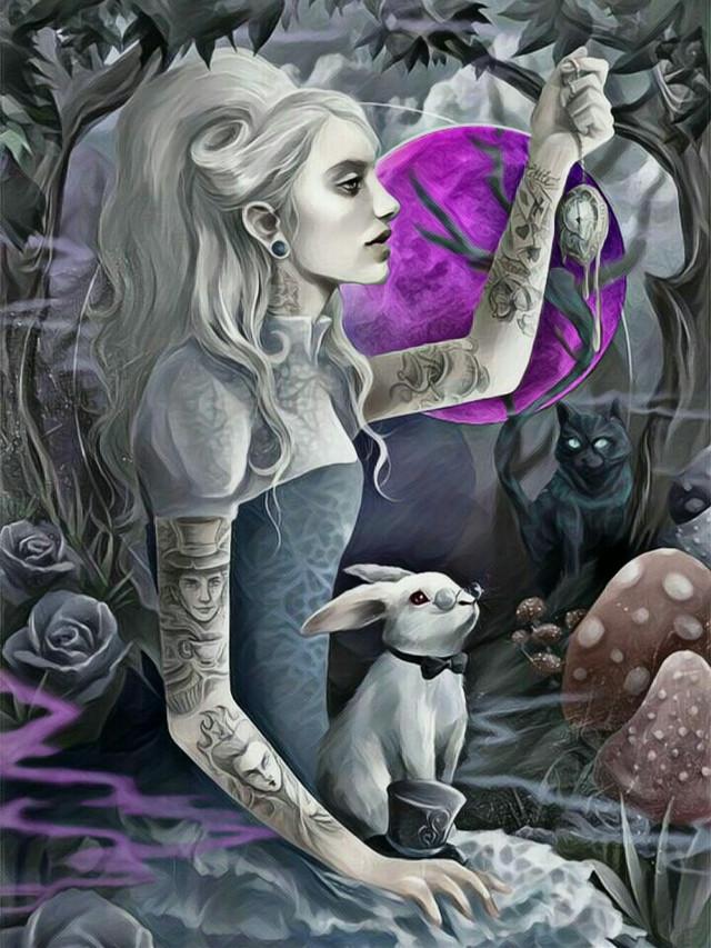 In Wonderland #freetoedit #moonlight #alice #mushrooms #rabbit #pocketwatch