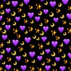 heart moon purple yellow asthetic freetoedit
