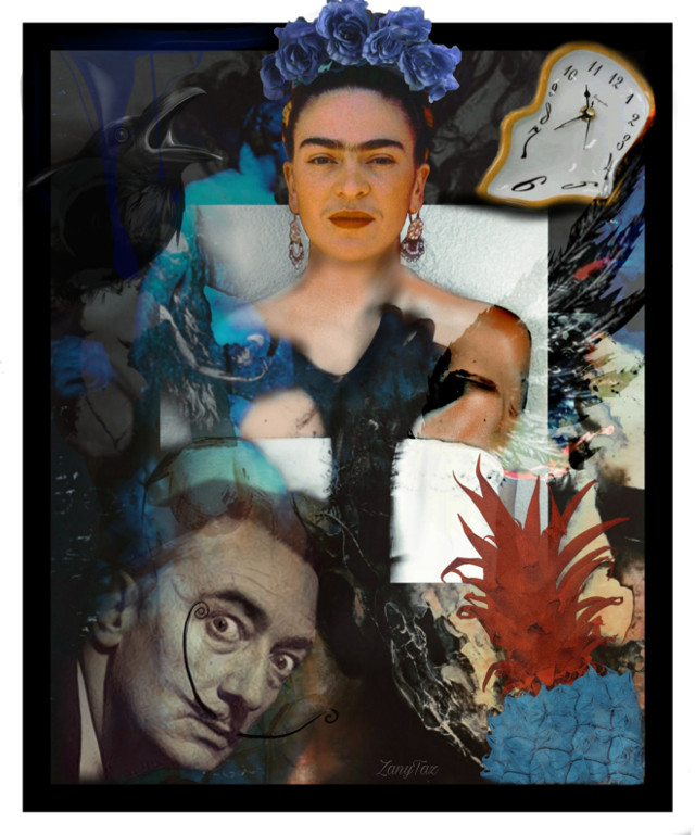 TRAPPED IN EACH OTHER'S NIGHTMARE 🌼🌿 #fridakahlo with #salvadordali melting #art as they get things warmed up. 👑 My #frida edit version from @mesechina awesome #artwork on #babelart. #unibrow_queen #artist #blue #dali #trapped #nightmare 💙🌿