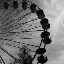 freetoedit photography ferriswheel clouds blackandwhite