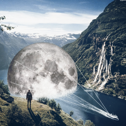 freetoedit edit surreal moon yacht