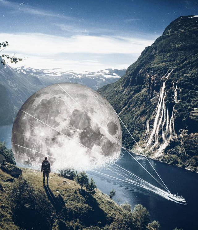 #freetoedit #edit #surreal #moon #yacht #aloneman