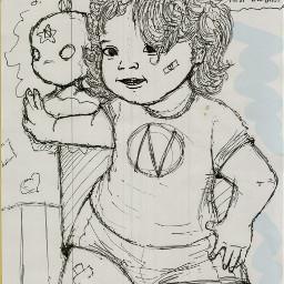 girl drawing wrestler art blackandwhite freetoedit