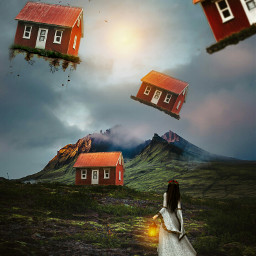 nature floating houses girl forest freetoedit