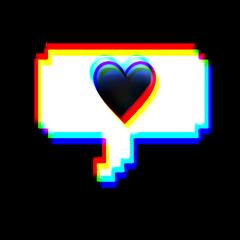 glitch love text heart freetoedit