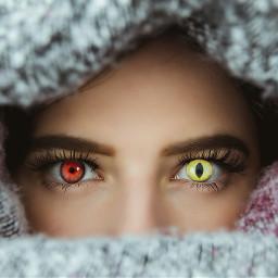 freetoedit girl eye yelloweyes redeye