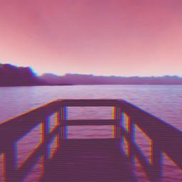 freetoedit glitch curves pier lake
