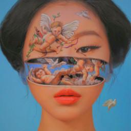 freetoedit blue slay art makeup