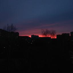 sunset red black