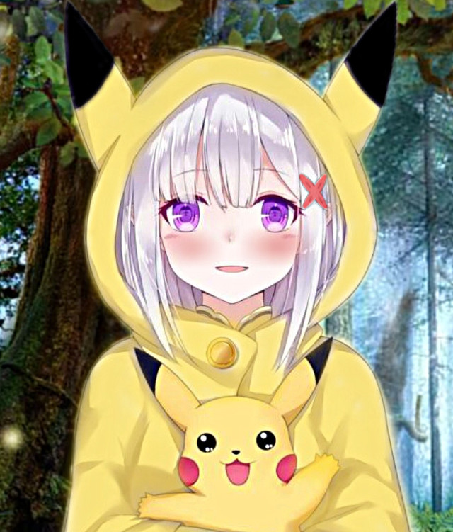 #freetoedit #anime #girl #pokemon #pikachu #pika #love #cute #forest #follow #like #comment