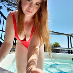red spa poolside photography redhair