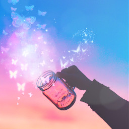 freetoedit butterflies jar artisticedit stickerart