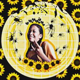 freetoedit heartcrown sunflowercrown blackspider blacksplash