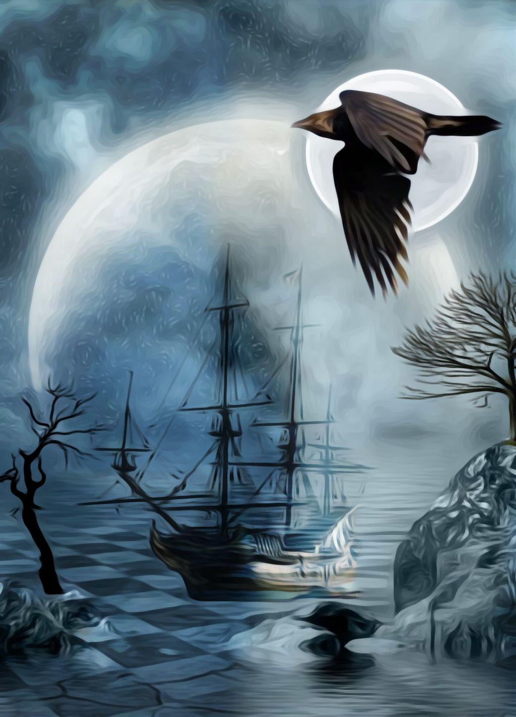 Half light half life #freetoedit #darkness #moon #pirates #ships