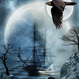 freetoedit darkness moon pirates ships