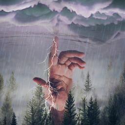 freetoedit pinetrees rain clouds stickeroverlay