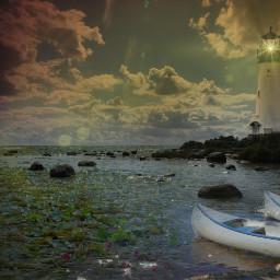 leuchtturm abends evening d lake