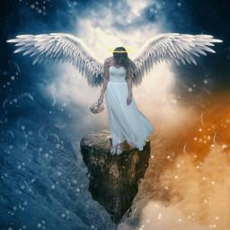 freetoedit angel wings aureola paradise srchalo