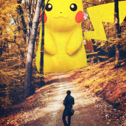 freetoedit pikachu pikapika big walking