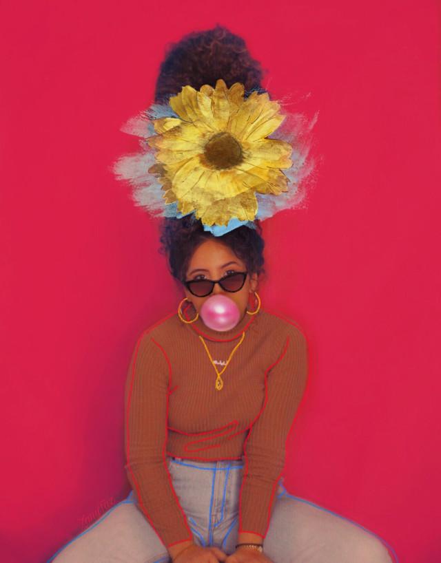 Happy Friday!! #margesimpson #ecflowerhead #bubblegum  #girl #bighair #freetoedit #outline #colors