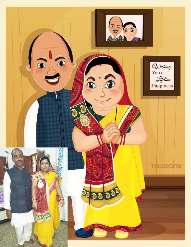 Cartoon Caricatures In Tolo's style.    #cartoon #caricature #india #indianart #fashion #happy #gifts #ideas #parents #anniversarry #art #vector #artist #tbs #artoftheday #cute