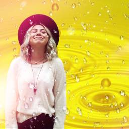 freetoedit yellow women rain enjoyment