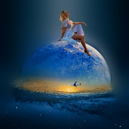 freetoedit girl planet galaxy aeroplane