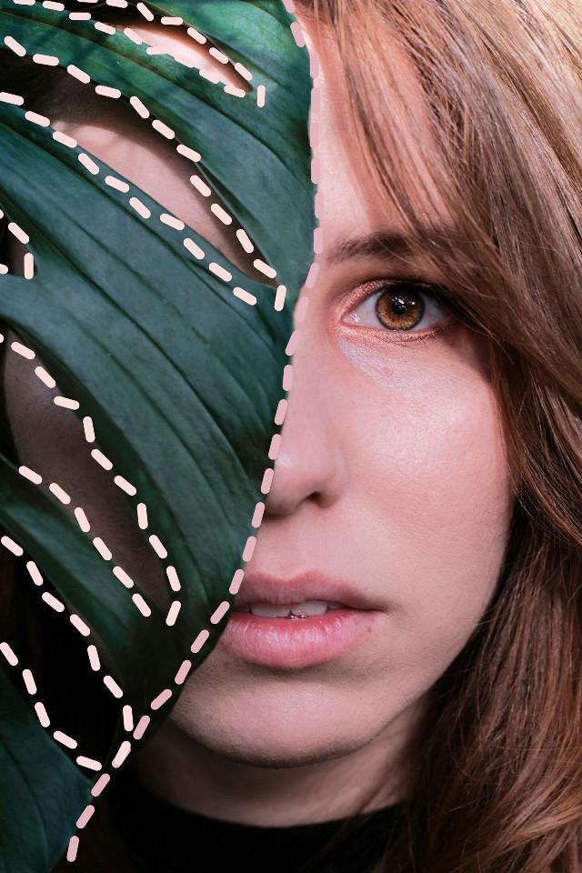 #freetoedit #potrait #people #girl #girls #leaf #nature #leaves #dottedoutline #aesthetic