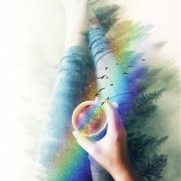 freetoedit doubleexposure rainbowlight rainbowbrush coffeeart