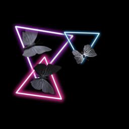 freetoedit neon butterfly neonlights triangle ircneonremix