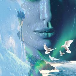 freetoedit female seashore raindrops oceanwaves myeditoffreetoedit