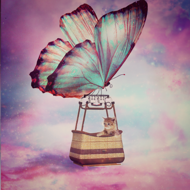 #freetoedit #butterfly #airballoon #sky #cats #myedit #madewithpicsart #surreal