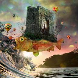 surreal ocean fantasy art fish