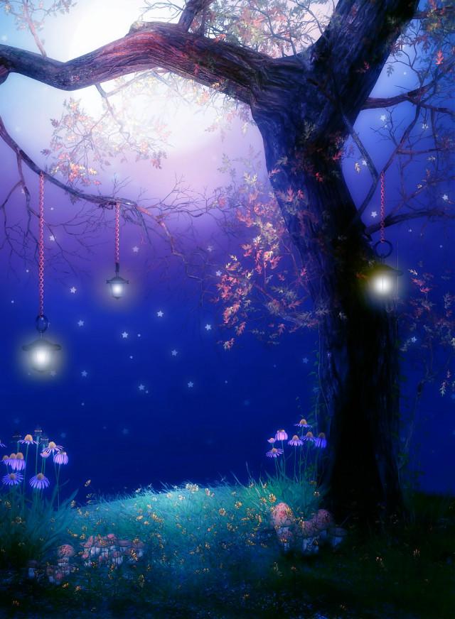 #freetoedit #fantasyart #fairytalebackgrounds #tree #hanginglights #nighttime #moonlight #myedit #madewithpicsart