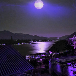 night landscape moon moonlight reflex