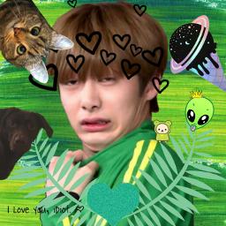 freetoedit hyungwonmonstax monstaxhyungwon meme hyungwonoppa srcgreenbrushstroke