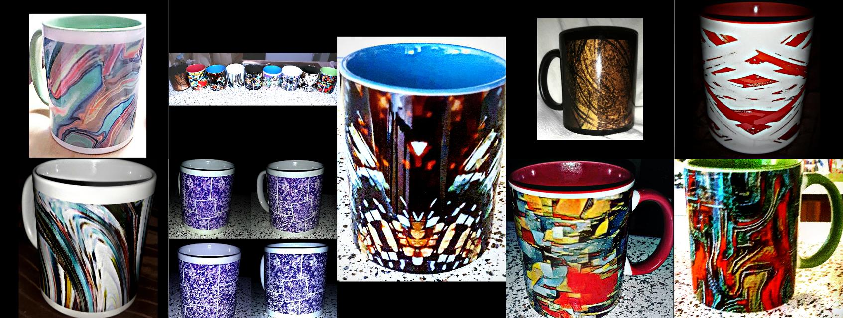 "Some of my favorites. Mugs from my Etsy shop ""Eclectic Mornings"".soon to be my Zazzle shop ""Little Crafts"" as well. #coffeemug #designercoffeecup #designercoffeemug #coffeemugdesign #abstractart #ceramics #etsyshopseller #etsyshop #mug #mydesign #mycraft #zazzleshopseller #zazzle"