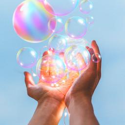 freetoedit bubbles hands luminous stickers