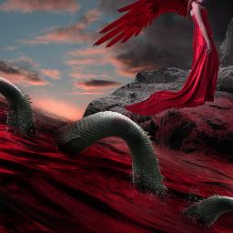 weird fantasy art serpent ocean