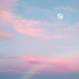 freetoedit moon madewithpicsart madebyme clouds sky stars pink