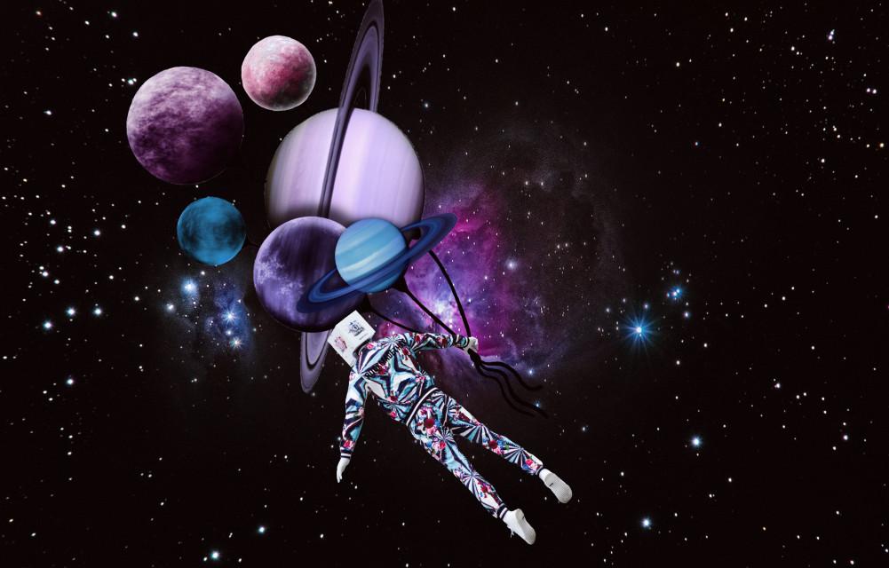 #freetoedit #robot #alien #galaxy #stars #surreal #picsart #madewithpicsart #manipulation #planets #rope #kite #universe