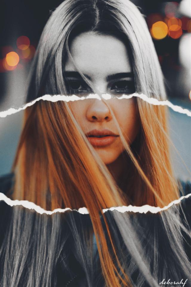 """""""Bicolor"""" by Deborah F - #girl #face #girlface #tornpaper #blackandwhite #twocolors #woman #hair #womanface #beautifulgirl #blonde @picsart"""