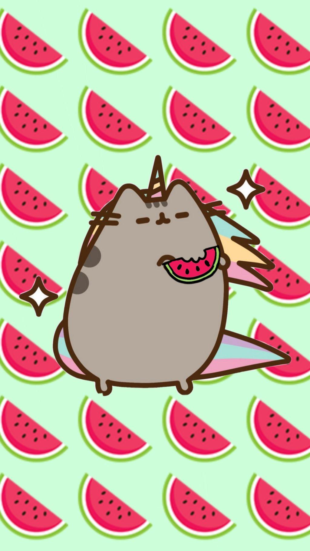 freetoedit wallpaper pusheen watermelon