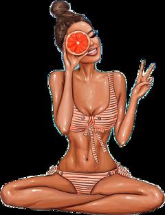 orange fruit woman summer summertime freetoedit scallthingssummer summersticker