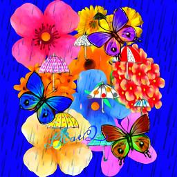 freetoedit poster wallart illustration seasonalweather spring nature flowers butterflies rain umbrella colorinme srcdoodleumbrellas doodleumbrellas