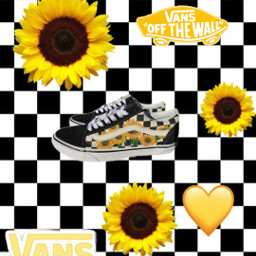 vans aesthetic shoes yellow checkerd freetoedit
